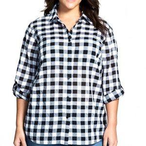 Michael Kors Roll Sleeve Check Plaid Shirt